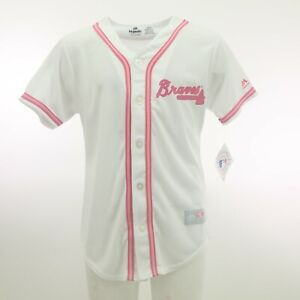Atlanta-Braves-Official-MLB-Majestic-Kids-YOUTH-Girls-Size-Pink-Jersey-New