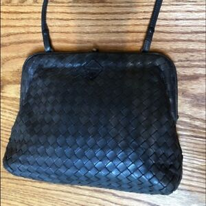 bfe2dd14c7 Image is loading BOTTEGA-VENETA -Intrecciato-Small-Black-Leather-Woven-Crossbody-