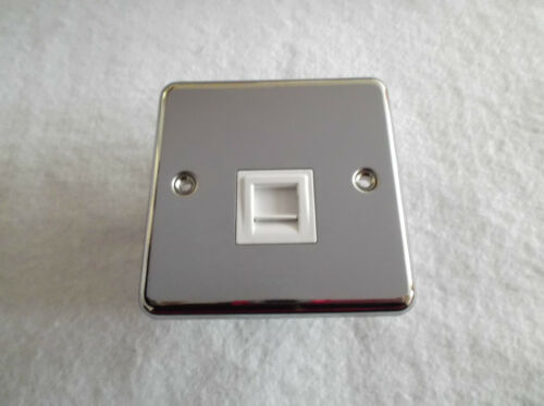 SINGLE SECONDARY POLISHED STAINLESS STEEL TELEPHONE SOCKET BY LEGRAND