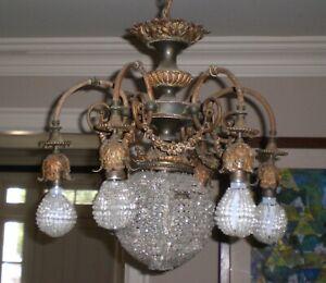ANTIQUE ART DECO DORE bronze doré bronze cristal Lustre neo classique