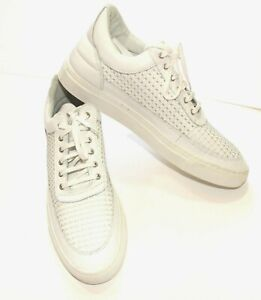 FILLING-PIECES-Woven-Leather-Wired-White-Low-Top-EUC-Sz-12