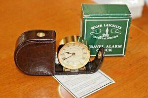 Roger-Lascelles-Quartz-Travel-Alarm-Clock-in-Foldaway-Leather-Case-New-in-Box