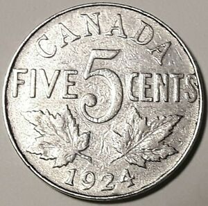 1924 CANADA 5¢ KING GEORGE V NICKEL COIN