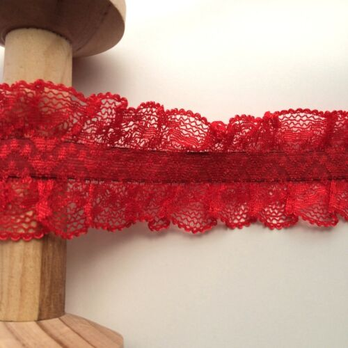 58mm Elasticated Double Edge Lace Frill Garter Style Trim in Red Metre