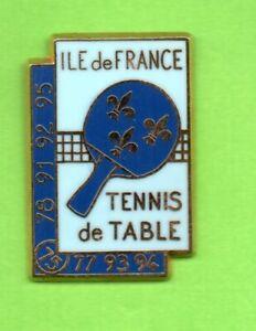 Pin-039-s-Pins-lapel-pin-TENNIS-DE-TABLE-ILE-DE-FRANCE-Raquette-Fleurs-de-LYS