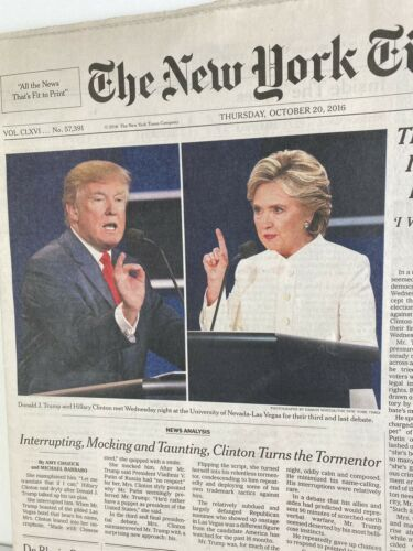 2016 Details about  /The New York Times Trump Clinton Debate October 20th