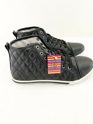 New Girls Chix Black Quilted Canvas Hi Top Ankle Fashion Trainer UK Sizes