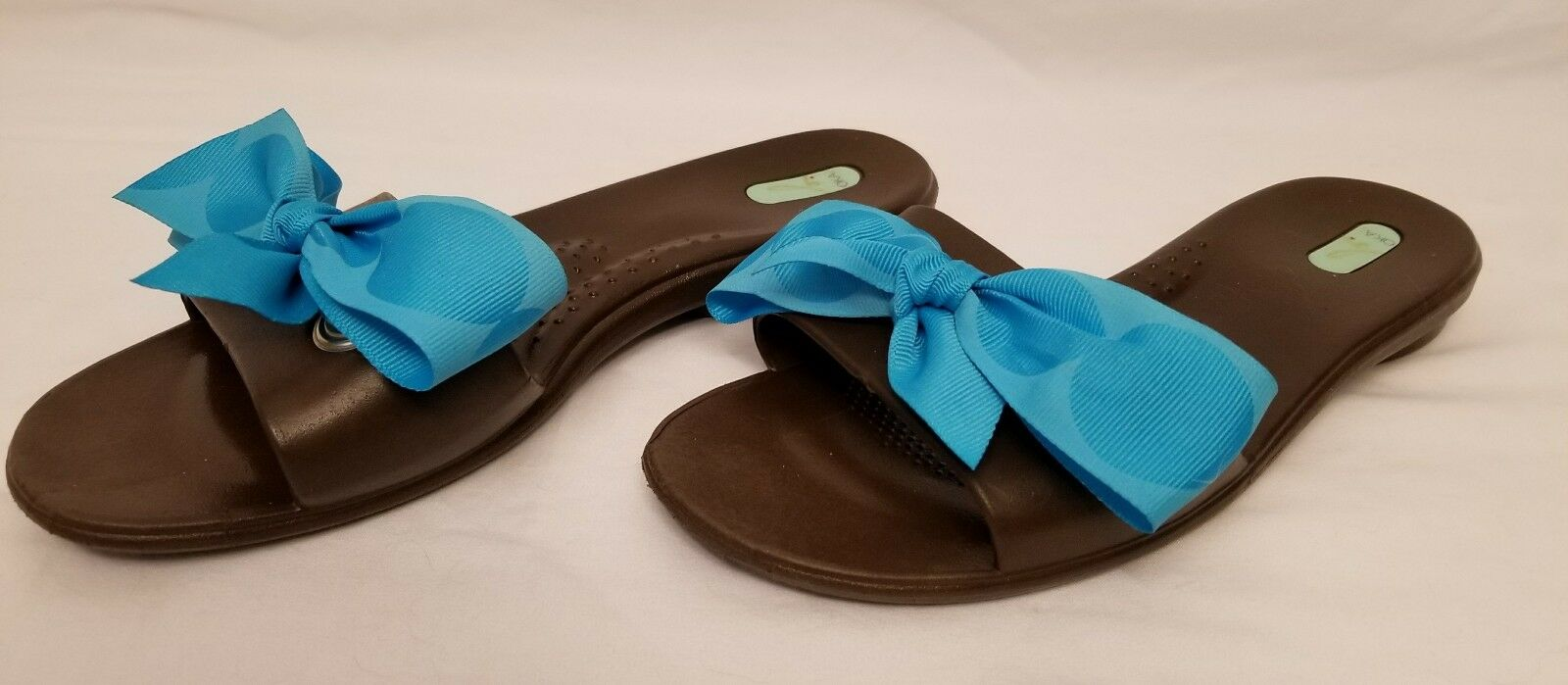 Okabashi Oka Sandals B Womens Brown Slide Sandals Oka W/Blue Bows Size ML Women's 8-9 VGPC bb82ce