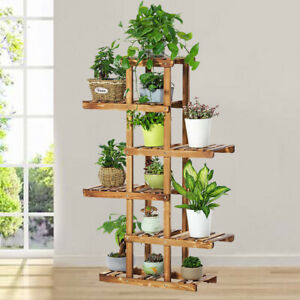 6-Tier-Corner-Wooden-Plant-Stand-Ladder-Flower-pot-Display-Rack-Shelf-Holder-New