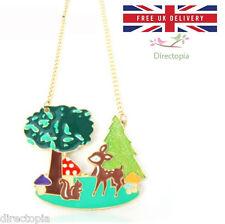 Fairytale Forest Pendant Necklace Kitsch Japan Deer Mushroom Squirrel Tree UK