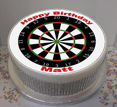 Personalised Dartboard Darts pre-cut Edible Icing Cake Topper or Ribbon