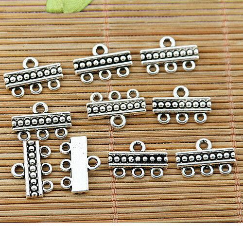90pcs tibetan silver tone bar 1-3holes link connector EF1770
