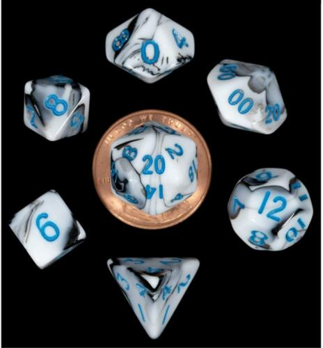 MDG MINI POLYHEDRAL 7 DICE SET Marble w// Blue numbers 10mm RPG D/&D gray Z