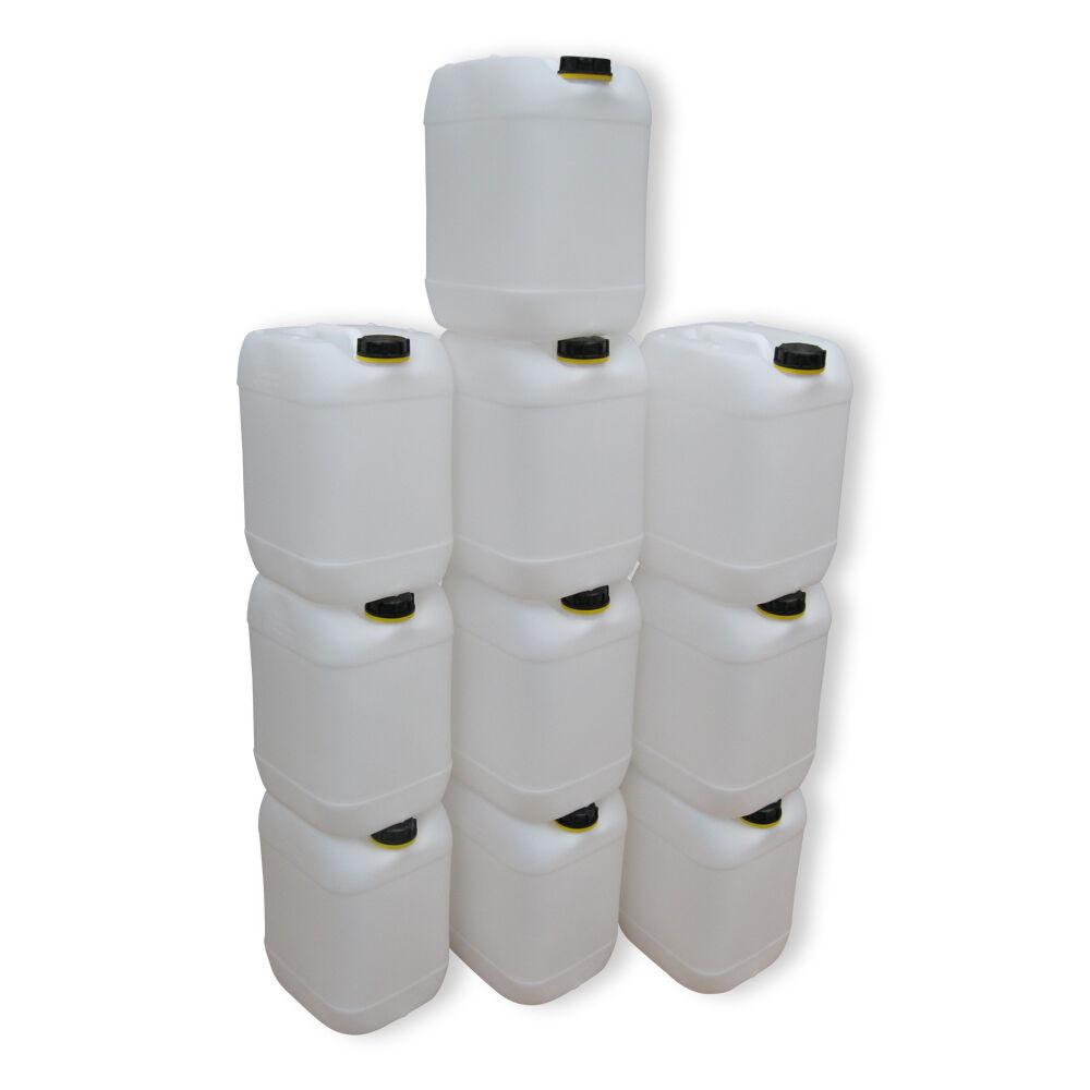 10 x 20 Liter natur Wasserkanister Trinkwasserkanister lebensmittelecht dicht.