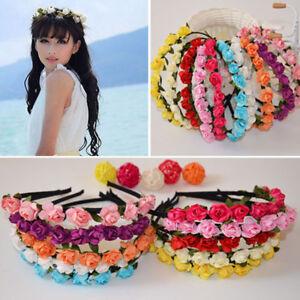 2a1d23e0cc4ca5 Das Bild wird geladen Bohemien-Haarreif-Haarkranz-Blumenkranz-Haarband- Blueten-Stirnband-Blumen-