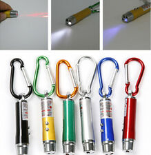 5Pcs 3 in 1 Mini Laser Pen Pointer LED Torch Light Flashlight UV Keychain