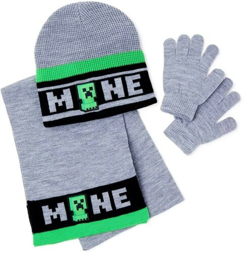 Gloves /& Scarf Set Ages 4-12 NWT  $30 MINECRAFT CREEPER Knit Winter Beanie Hat