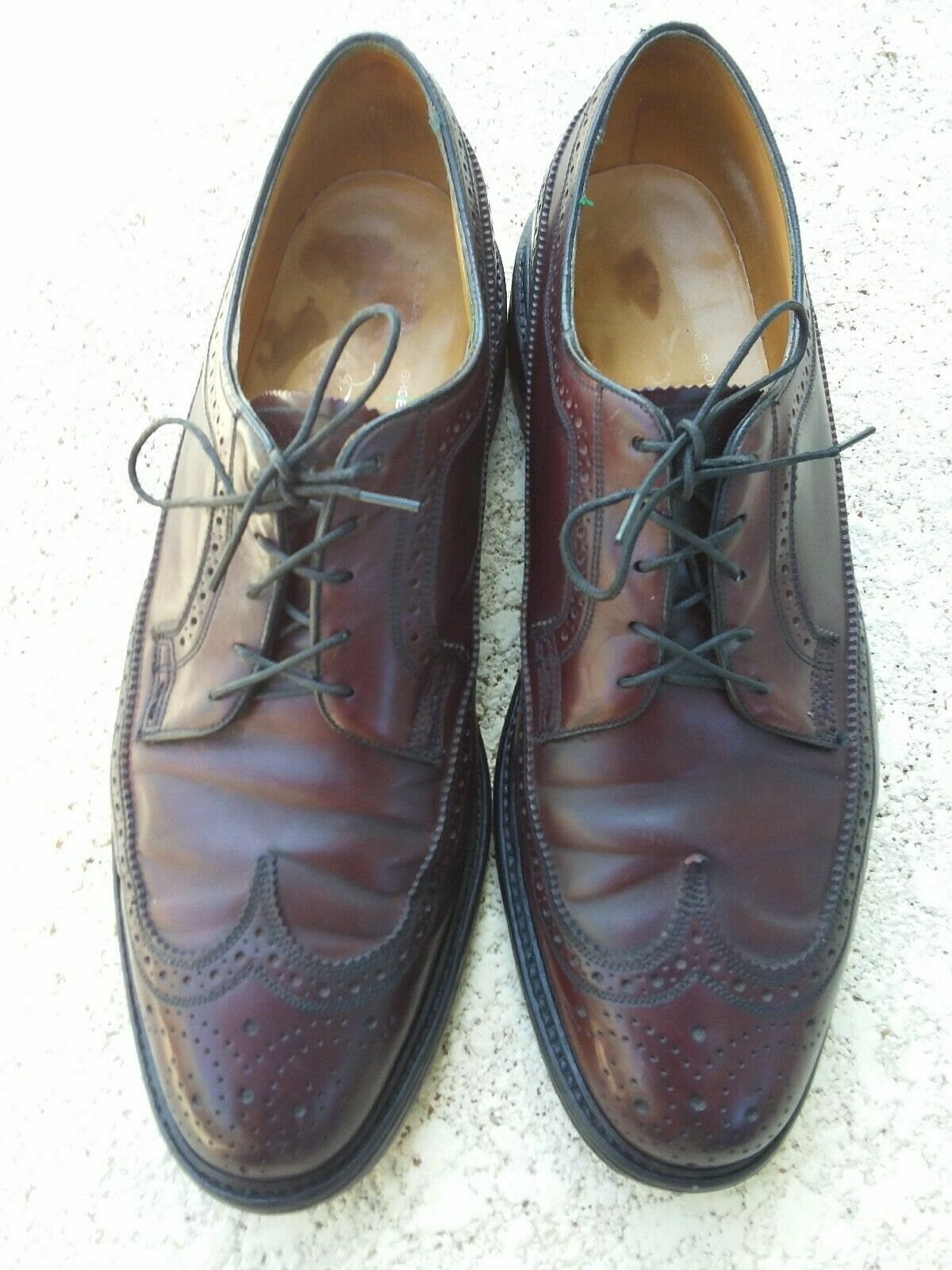 Vintage Florsheim Imperial SHELL CORDOVAN 93605 Longwing 5 clous. Taille 10 1 2 c