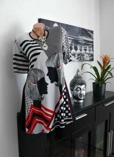 ♥ Damen Tunika Ladies Print  weiß schwarz  42  44 46 48 50 gr NEU ♥