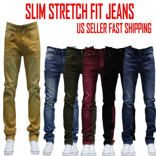Men Jeans Slim Stretch Fit Slim Fit Trousers Casual Pants Skinny Black Jean by Private Label