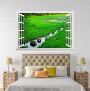 3D Grass Green 504 Open Windows WallPaper Murals Wall Print Decal Deco AJ Summer