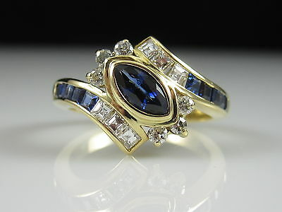 18K Sapphire Diamond Ring Yellow Gold Estate Fine Jewelry Square Channel Bypass