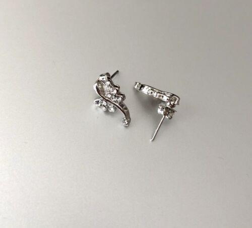 2X Butterfly Stud Earrings Rhinestone Crystal Silver New 402 Canada Seller