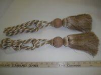 2 Decorative Drapery Tie-backs W / 9 Tassel Beige/cream Curtain Trim P104