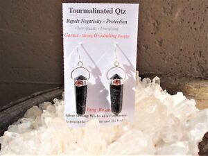 Quartz-Tourmaline-Red-Garnet-Silver-Earrings-Helps-Prevent-Negative-Energy