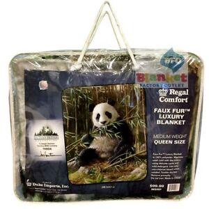 "Panda Bear  faux fur luxury Queen Size Blanket 79"" x 96"" eating bamboo"