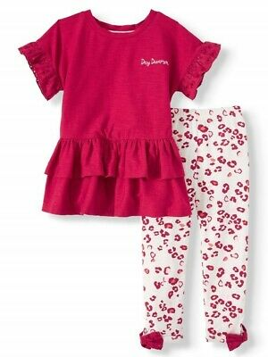 Wonder Nation Toddler Girl SS Ruffle Knit Top /& Printed Leggings 2pc Outfit