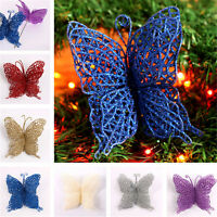 Christmas Glitter Hollow Butterfly Wedding Party Ornaments Xmas Tree Decorations
