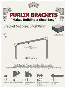 Skillion Shed 8inch C Section Purlin Bracket Set-Garage-Farm-Barn