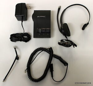 Plantronics-M12-Headset-System-w-Corded-headset-Phone-cable-amp-AC-Adapter