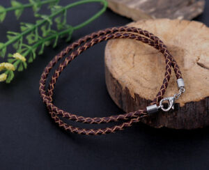 24 3mm Brown Braded Leather Cord Necklace with Sterling Silver Clasp and Length Choice up to 30