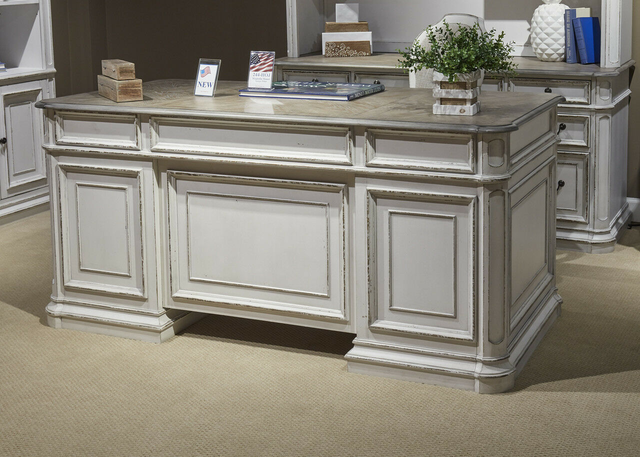 Magnolia Traditional Antique White Executive Desk with Flip Down Keyboard  Tray