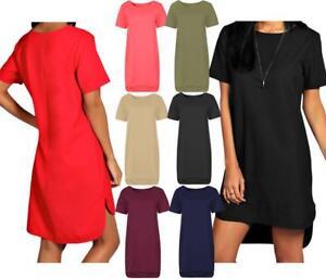 Womens-Ladies-Short-Sleeve-Step-Drop-Hem-Shift-Dress-Crew-Neck-Midi-Plain-Ponte