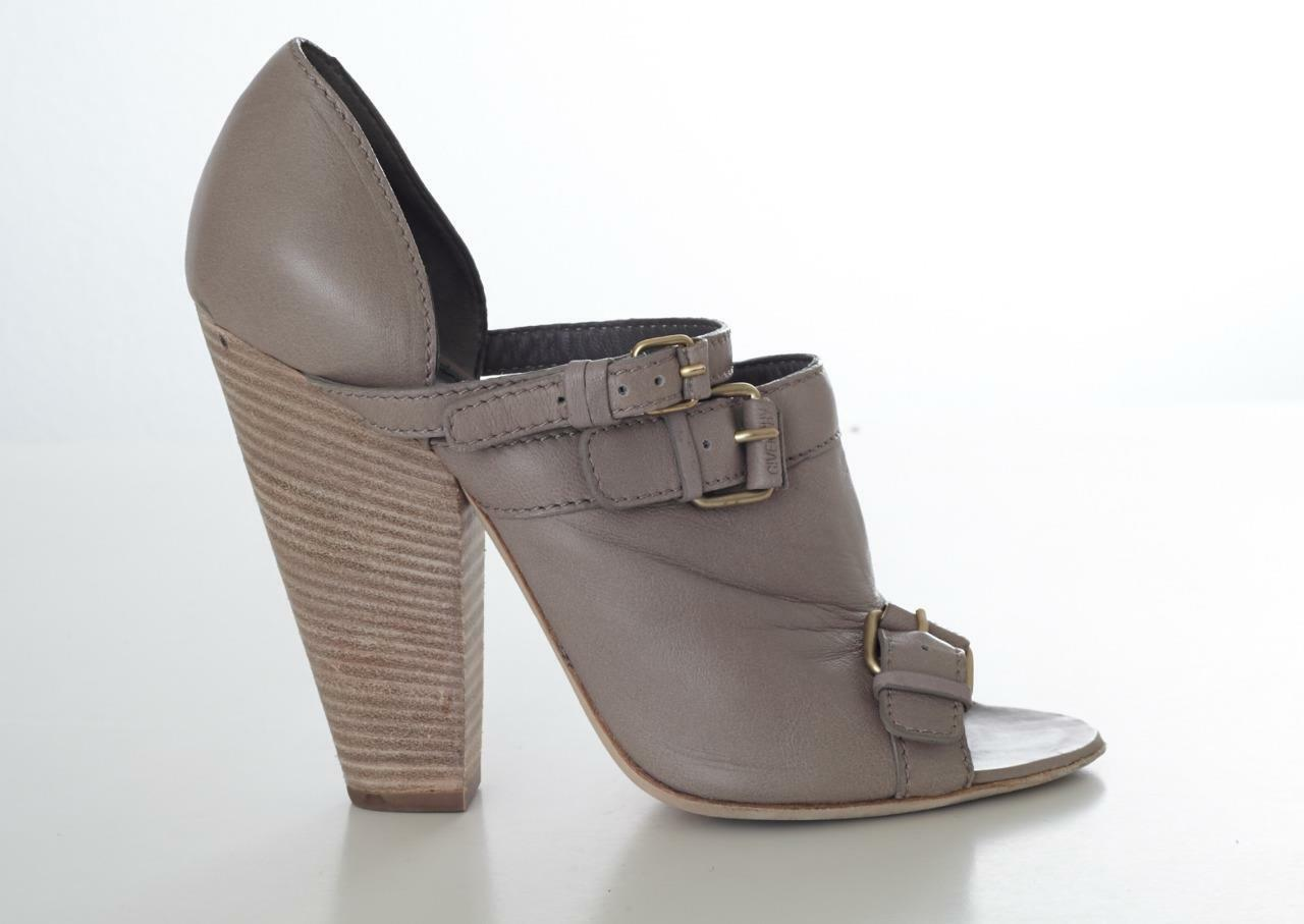 GIVENCHY Taupe Gray Leder Wooden Strappy Buckle Peep-Toe Bootie High Heel 9/39