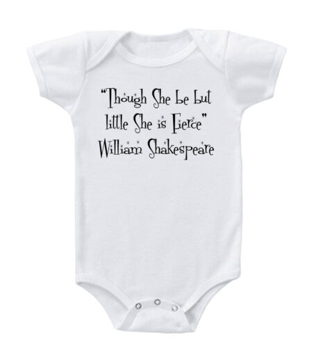 "/""Though She Be But Little She Is Fierce/"" Shakespeare Baby Bodysuit One Piece"