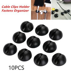 10x Cable Clips Holder Fasten Organizer For Charger Cables/power Cord Car/office AgréAble Au Palais