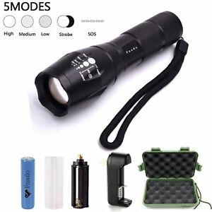 Torches Zoomable Tactical LED Flashlights torch light +1 18650 battery+Charger +
