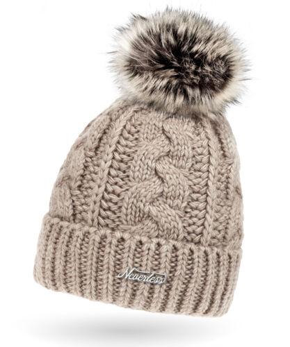 Damen Strick-Mütze gefüttert Fell-Bommel Kunstfell Winter-Mütze Bommelmütze