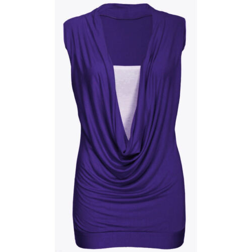 LADIES GATHERED COWL NECK JERSEY STYLE LAYER TOP SLEEVELESS LONG VEST TOP 8-20