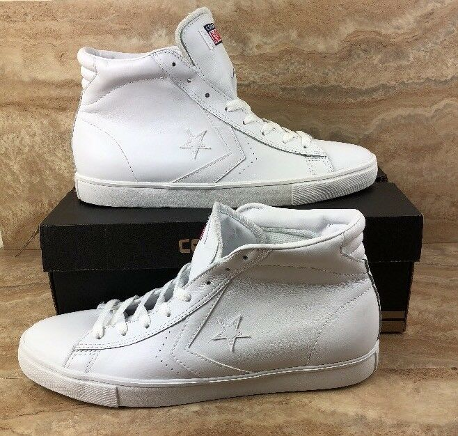 Converse Pro Leather Vulc Mid Leather White White shoes Hi Top Sneakers