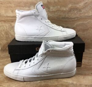 the best attitude d72f8 abeca Details about Converse Pro Leather Vulc Mid Leather White White Shoes Hi  Top Sneakers