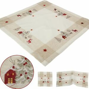 Christmas Table Runners.Details About Christmas Table Runners Placemats Tablecloths Red Reindeer Embroidery Beige