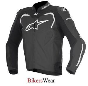 Alpinestars-GP-Pro-Black-White-Leather-Motorcycle-Sports-racing-Jacket