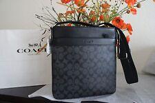 NWT Coach F54781 Men's Charles Crossbody Bag Black Charcoal PVC & Leather $295