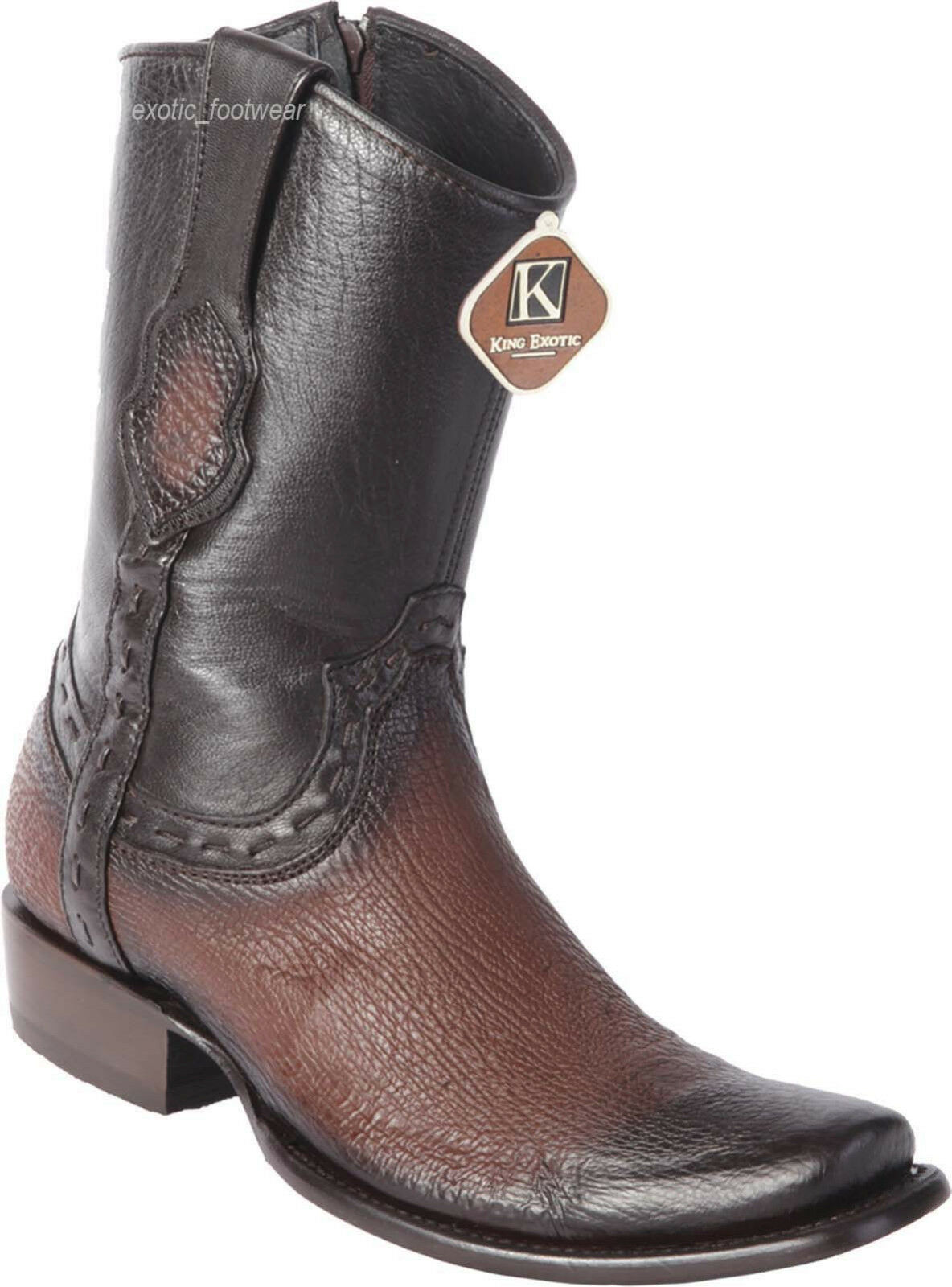 Men's King Exotic Genuine Shark Skin Western Boots Inside Zipper Mid Calf