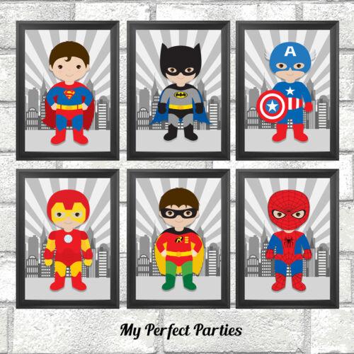 Nursery Decor Gift Pictures Superhero Prints Set Children/'s Bedroom Wall Art